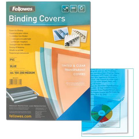 Обложки для переплета FELLOWES, комплект 100 шт., Transparent, А4, пластиковые, 200 мкм, прозрачно-синие, FS-53771
