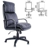 """Кресло офисное """"Надир"""", кожа, монолитный каркас, черное К-01"""