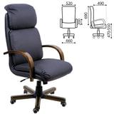 """Кресло офисное """"Надир-экстра"""", кожа, дерево (орех D-08), монолитный каркас, черное К-01"""