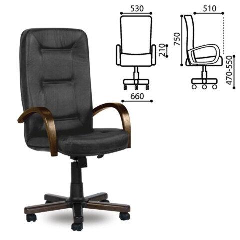 """Кресло офисное """"Сенатор-экстра"""", дерево, натур. кожа, черное, Л31"""