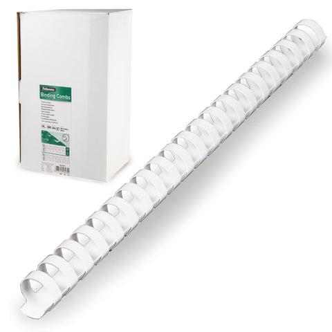 Пружины пластиковые для переплета FELLOWES, комплект 100 шт., 19 мм, для сшивания 121-150 л., белые, FS-53474