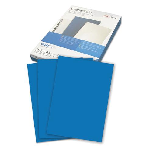 Обложки для переплета GBC (Англия), комплект 100 шт., LeatherGrain (тиснение под кожу), A4, синие, 040020/4401981