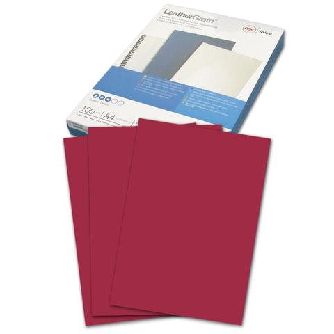 Обложки для переплета GBC (Англия), комплект 100 шт., LeatherGrain (тиснение под кожу), A4, картон, темно-красные, 040031/4401982