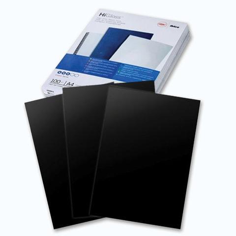 Обложки для переплета GBC (Англия), комплект 100 шт., HiGloss, А4, картон 250 г/м<sup>2</sup>, черные, CE020010