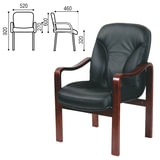 Кресло для приемных и переговорных СН-658/CH-422, кожа, черное, 6025104
