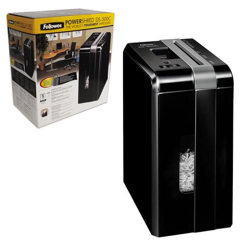 Уничтожитель (шредер) FELLOWES DS-500С, для 1 человека, 4 уровень секретности, 4x38 мм, 5 листов, 8 л, скобы, скрепки, карты, FS-3401301