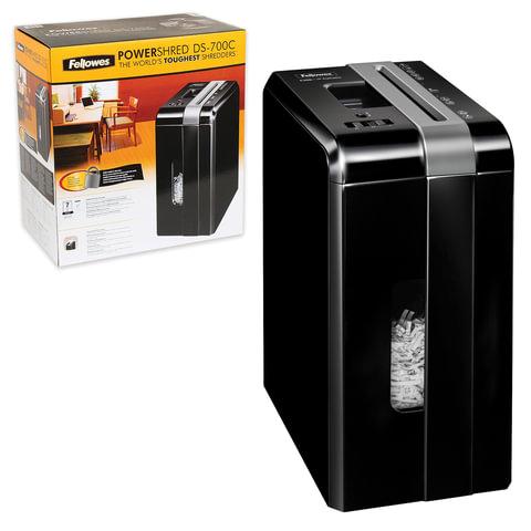 Уничтожитель (шредер) FELLOWES DS-700С, для 1 человека, 3 уровень секретности, 4x46 мм, 7 листов, 10 л, скобы, скрепки, карты, FS-3403201