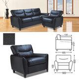 """Кресло мягкое """"Наполи"""", 800х900х800 мм, c подлокотниками, экокожа, черное"""