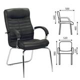 """Кресло для приемных и переговорных """"Orion CFA/LB steel chrome"""", кожа, черное"""