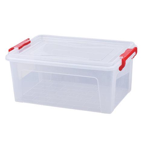 Ящик 14 л, с крышкой на защелках, для хранения, 18х43х28 см, пластиковый, прозрачный IDEA, М2866