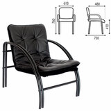 "Кресло ""Аксель"", 610х730х760 мм, на металлическом каркасе, кожзам, черное"