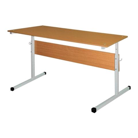 Стол-парта 2-местный, регулируемый, 1200х500х520-640 мм, рост 2-4, серый каркас, ЛДСП бук, Ш-304 (2-4)
