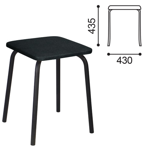 Табурет РС01-03, черный каркас, черный кожзам, РС.01/03-201-01