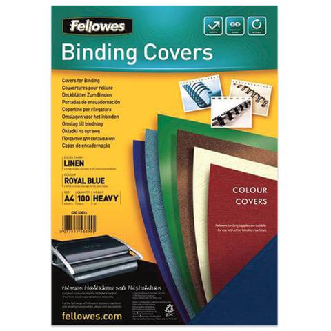 Обложки картонные для переплета А4, КОМПЛЕКТ 100 шт., тиснение под лён, 250 г/м2, синий, FELLOWES, FS-53815
