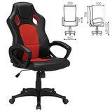 """Кресло офисное BRABIX """"Rider EX-544"""", экокожа черная/ткань красная, 531583"""