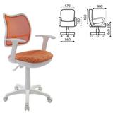 Кресло CH-W797/OR/GIRAFFE с подлокотниками, оранжевое с рисунком, пластик белый