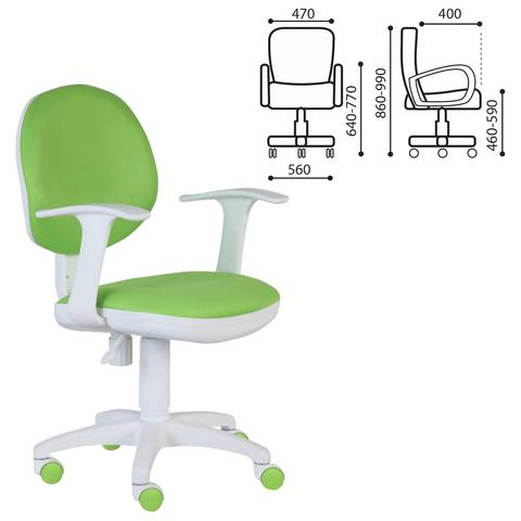 Кресло CH-W356AXSN с подлокотниками, светло-зеленое, пластик белый, CH-W356AXSN/15