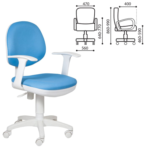 Кресло CH-W356AXSN с подлокотниками, голубое, пластик белый, CH-W356AXSN/15