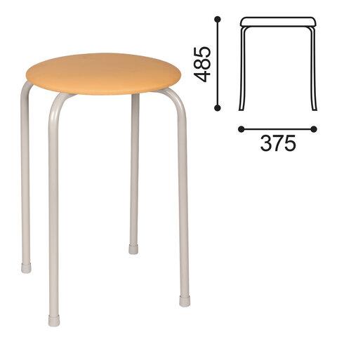 Табурет РС01-Т011В, серебристый каркас, кожзам песочный, РС01-Т011В-523-