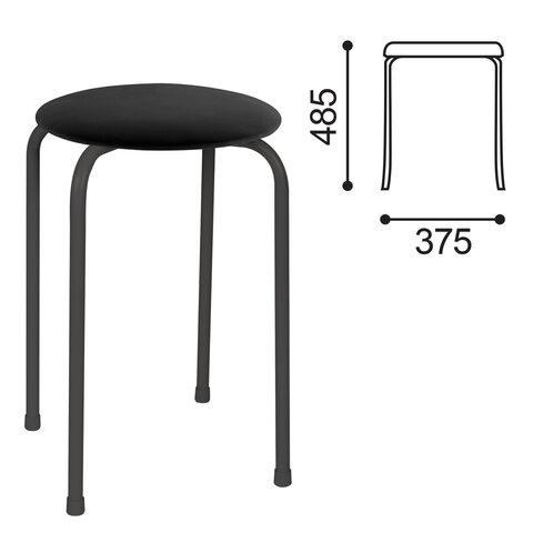 Табурет РС01-Т011В, черный каркас, кожзам черный, РС01-Т011В-201-