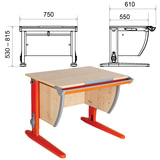 Стол-парта регулируемый ДЭМИ СУТ.14, 750х610х530-815 мм, оранжевый металический каркас, ЛДСП, клен