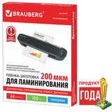 Пленки-заготовки для ламинирования А4, КОМПЛЕКТ 100 шт., 200 мкм, BRAUBERG, 531777
