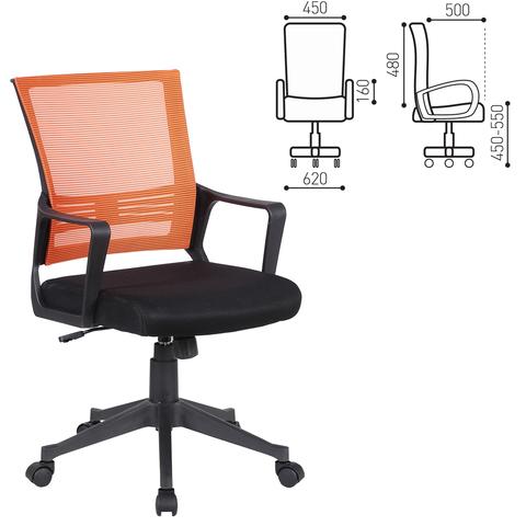 Кресло BRABIX Balance MG-320, с подлокотниками, комбинир. черное/оранжевое, 531832