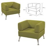 "Кресло мягкое ""Норд"", ""V-700"", 820х720х730 мм, c подлокотниками, экокожа, светло-зеленое"