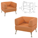 """Кресло мягкое """"Норд"""", """"V-700"""", 820х720х730 мм, c подлокотниками, экокожа, оранжевое"""