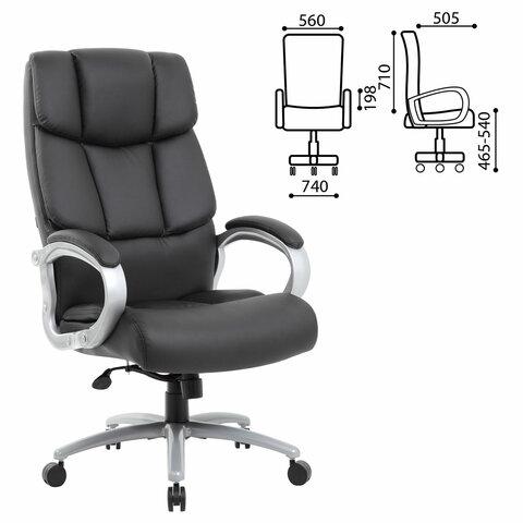 Кресло офисное BRABIX PREMIUM Blocks HD-008, НАГРУЗКА до 200 кг, экокожа, черное, 531944