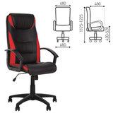 """Кресло офисное """"Tokyo"""", экокожа, черное с красными вставками"""
