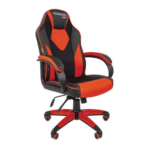 Кресло компьютерное СН GAME 17, ткань TW/экокожа, черное/красное, 7024560