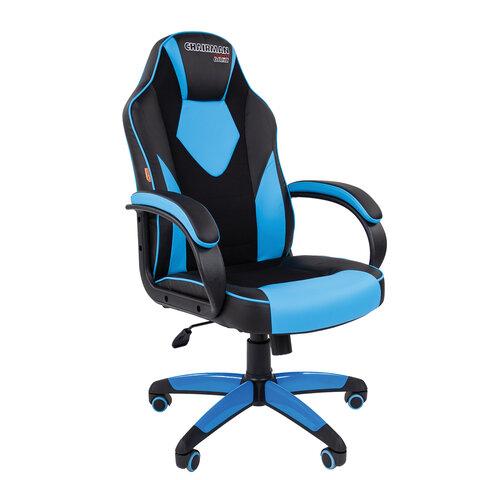 Кресло компьютерное СН GAME 17, ткань TW/экокожа, черное/голубое, 7024559
