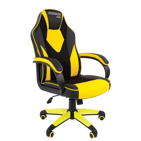 Кресло компьютерное СН GAME 17, ткань TW/экокожа, черное/желтое, 7028515