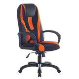 """Кресло компьютерное BRABIX PREMIUM """"Rapid GM-102"""", НАГРУЗКА 180 кг, экокожа/ткань, черно/оранжевое, 532420, GM-102_532420"""