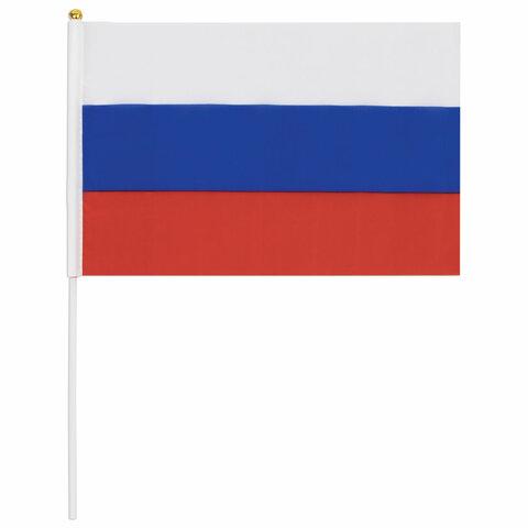 Флаг России ручной 20х30 см, без герба, с флагштоком, BRAUBERG, 550181, RU13