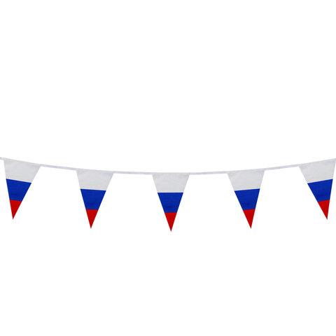 Гирлянда из флагов России, длина 5 м, 10 треугольных флажков 20х30 см, BRAUBERG, 550186, RU27