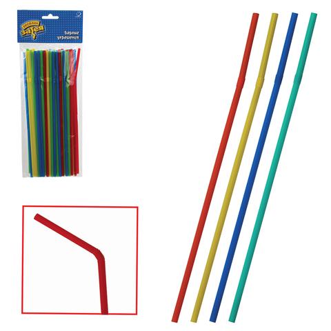 Одноразовые трубочки для коктейля, комплект 50 шт., разноцветные, в упаковке с европодвесом, 1502-0539