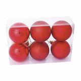 Шары елочные, набор 6 шт., пластик, диаметр 6 см, цвет красный (глянец, матовый, глиттер), ассорти, 59565