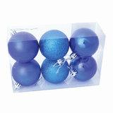 Шары елочные, набор 6 шт., пластик, диаметр 6 см, цвет синий (глянец, матовый, глиттер), ассорти, 59568