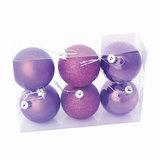 Шары елочные, набор 6 шт., пластик, диаметр 6 см, цвет фиолетовый (глянец, матовый, глиттер), ассорти, 59570