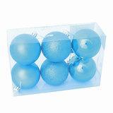Шары елочные, набор 6 шт., пластик, диаметр 6 см, цвет бирюза (глянец, матовый, глиттер), ассорти, 59572