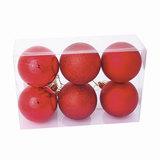 Шары елочные, набор 6 шт., пластик, диаметр 8 см, цвет красный (глянец, матовый, глиттер), ассорти, 59573