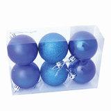 Шары елочные, набор 6 шт., пластик, диаметр 8 см, цвет синий (глянец, матовый, глиттер), ассорти, 59576