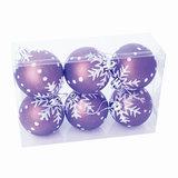 Шары елочные, набор 6 шт., пластик, диаметр 6 см, с рисунком, цвет фиолетовый (матовый), 59577