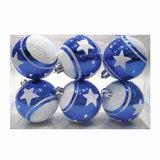 Шары елочные, набор 6 шт., пластик, диаметр 6 см, с рисунком глиттером, цвет синий (глянец), 59579