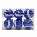 Шары елочные, набор 6 шт., пластик, диаметр 6 см, с рисунком глиттером, цвет синий (глянец), 59580