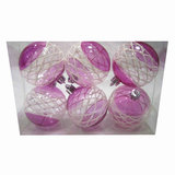 Шары елочные, набор 6 шт., пластик, диаметр 6 см, с рисунком, цвет розовый (глянец), 59581