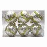 Шары елочные, набор 6 шт., пластик, диаметр 6 см, с рисунком, цвет персиковый (матовый+глиттер), 59583