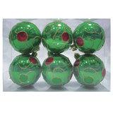 Шары елочные, набор 6 шт., пластик, диаметр 6 см, с рисунком, цвет зеленый (глянец), 59586